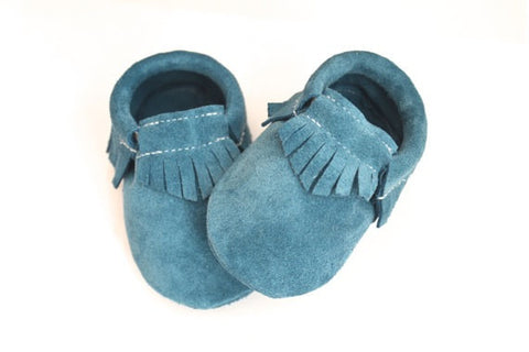 Cool Blue Suede Moccasins