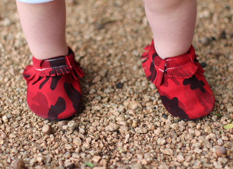 Red Camo Suede Moccasins
