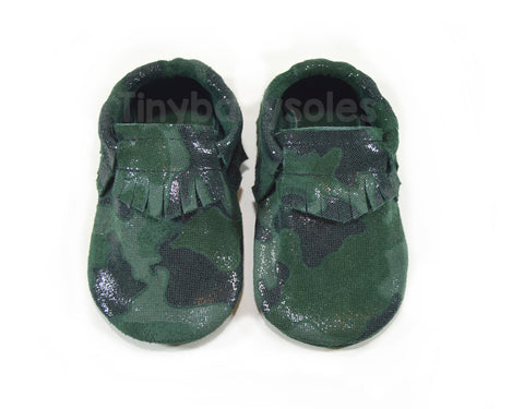 Shimmer Camo Suede Moccasins