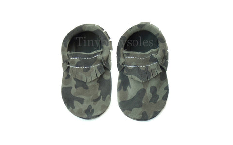 Green Camo Suede Moccasins