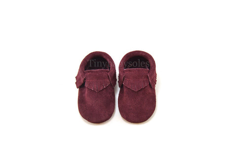 Maroon Suede Moccasins