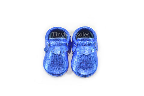 Metallic Blue Moccasins