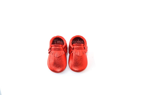 Metallic Red Moccasins