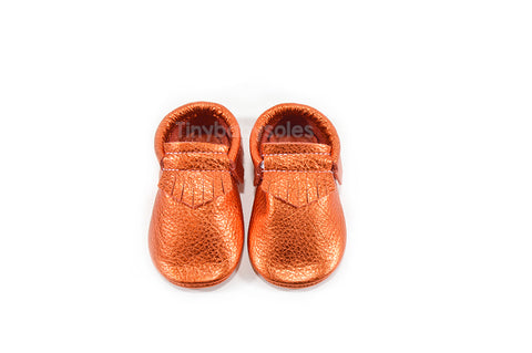 Metallic Orange Moccasins