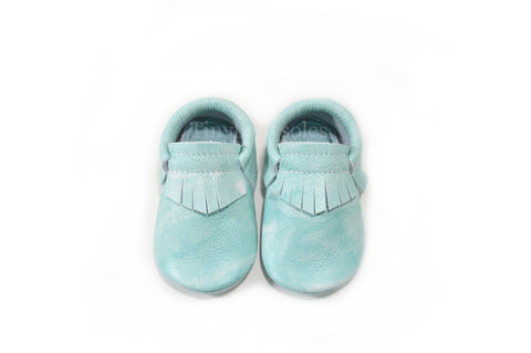 Mint Acid Wash Moccasins