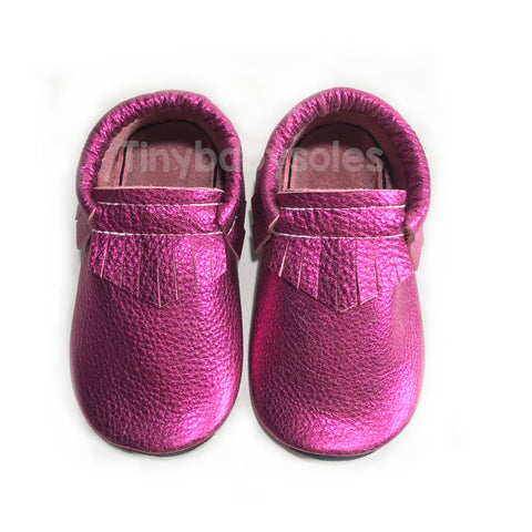 Metallic Mulberry Moccasins