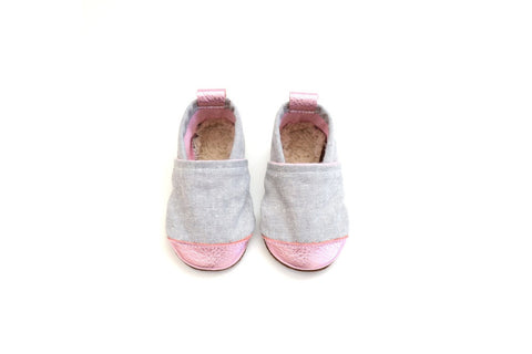 Metallic Pink (Soft Gray Fabric) Fabric x Leather Bootie