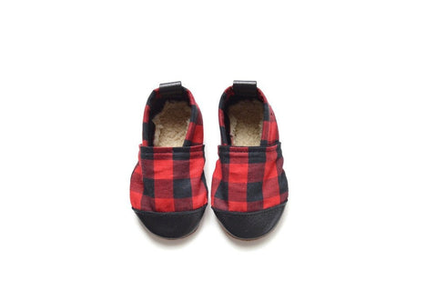 Buffalo Plaid- Black/Red Plaid Fabric x Leather Bootie