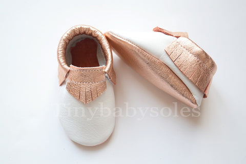 White/Rose Gold Moccasins