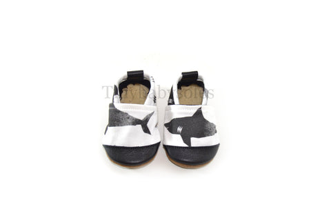 Black & White Shark Organic Fabric x Leather Bootie