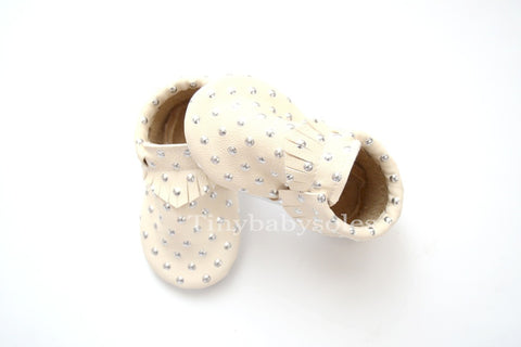 Silver Dots Moccasins