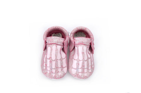 HALLOWEEN DROP- SPARKLE PINK/WHITE SKELLY TOES