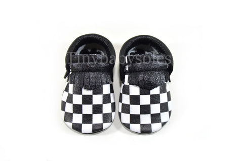 Monochrome Checkerboard Moccasins