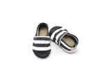 Black/White Stripes Organic Fabric x Leather Bootie