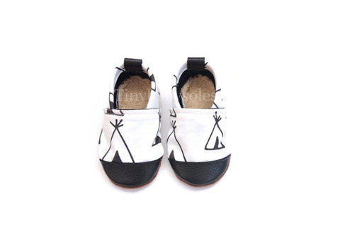Black/White Teepee Organic Fabric x Leather Bootie