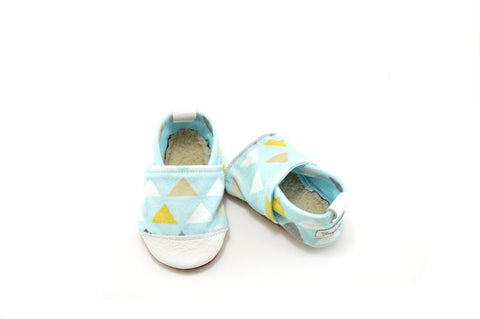 Baby Blue Triangle Organic Fabric x Leather Bootie