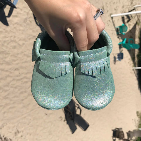Sparkle Green Moccasins