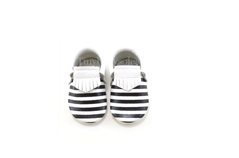 White Onyx Stripes Moccasins