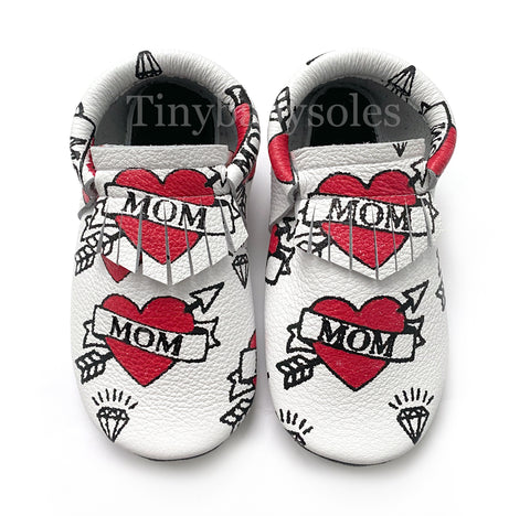 White MOM hand painted moccasins
