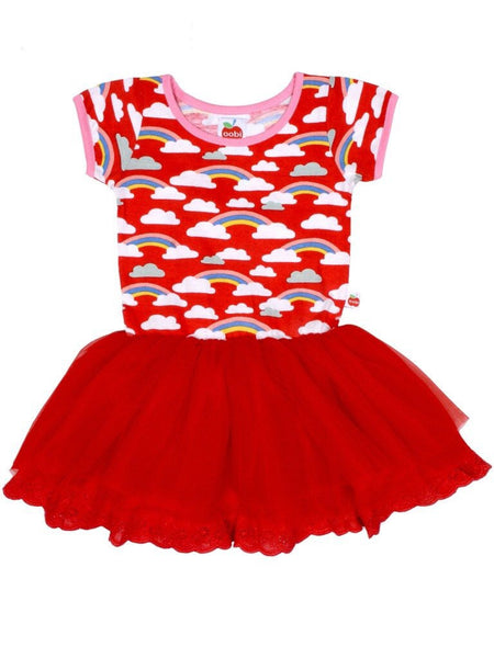 Vestido Claudia Red Rainbow Dress