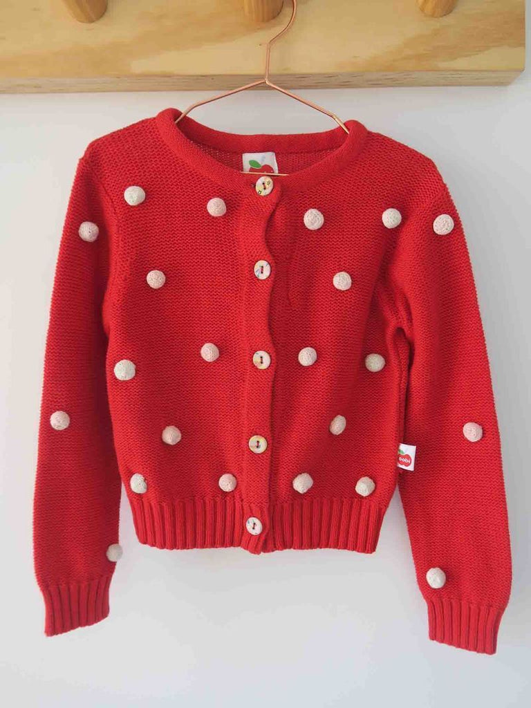 Cardigan Bobble Red