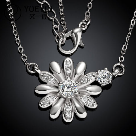 18K gold plating zircon floral necklace