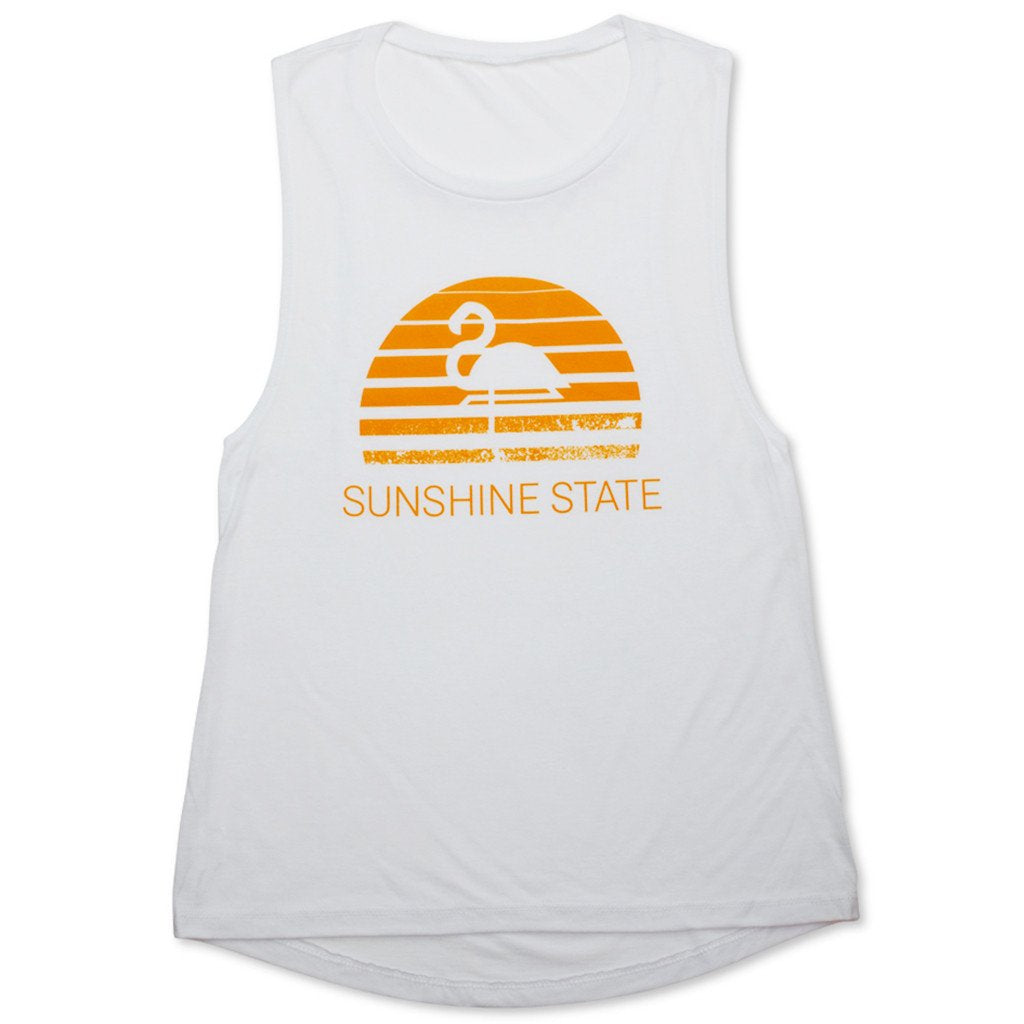 Flamingo Sunset Tank - White