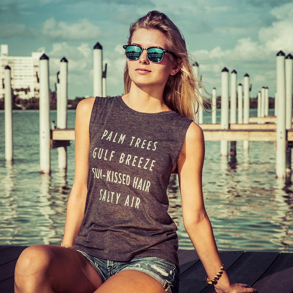 Palm Trees Gulf Breeze Tank - Dark Grey