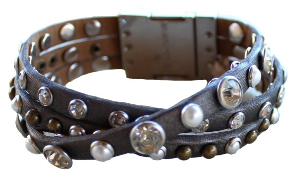 Bracelet - Leather Braided Bracelet - Gunmetal