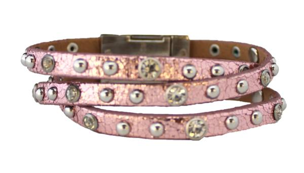 Bracelet - Leather Braided Bracelet - Metallic Pink