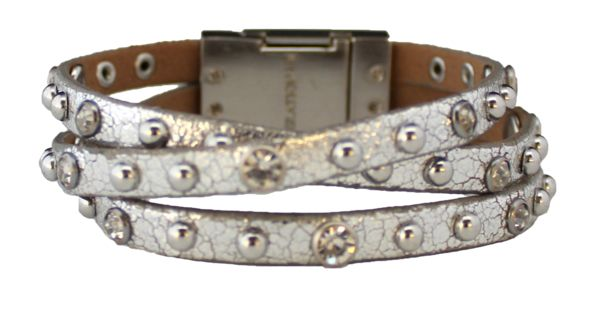 Bracelet - Leather Braided Bracelet - Metallic Silver