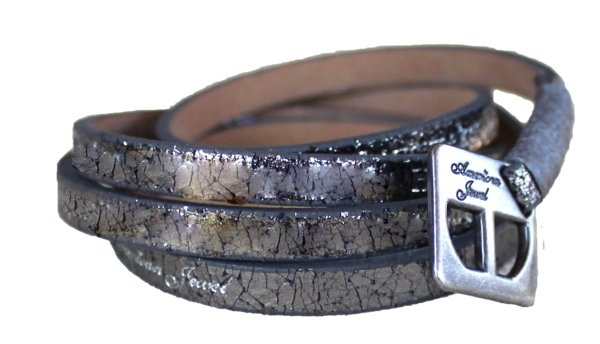 Bracelet - Leather Wrap Bracelet - Vintage Pewter