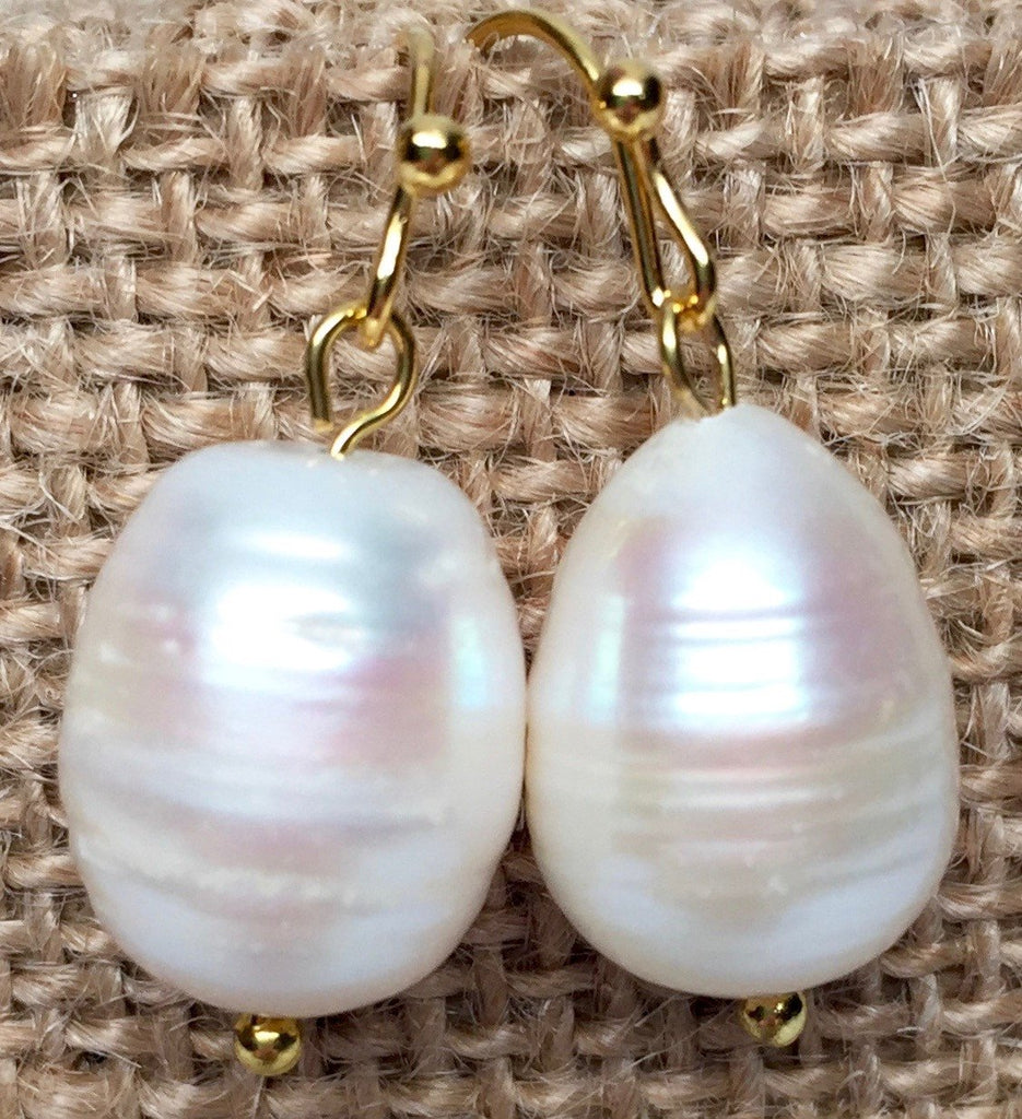 Earrings - Pearl Earrings - Gold