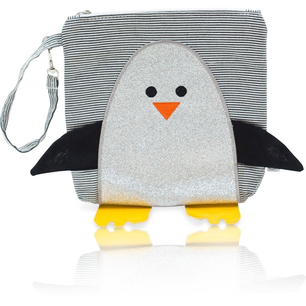 Snack Bag - My First Buddy Snack Bag - Glitter Silver Penguin