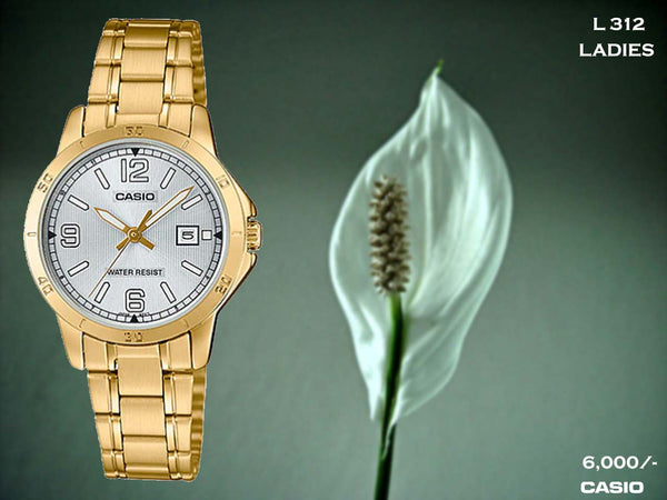 Casio Gold Plated Ladies Steel Belt L 312