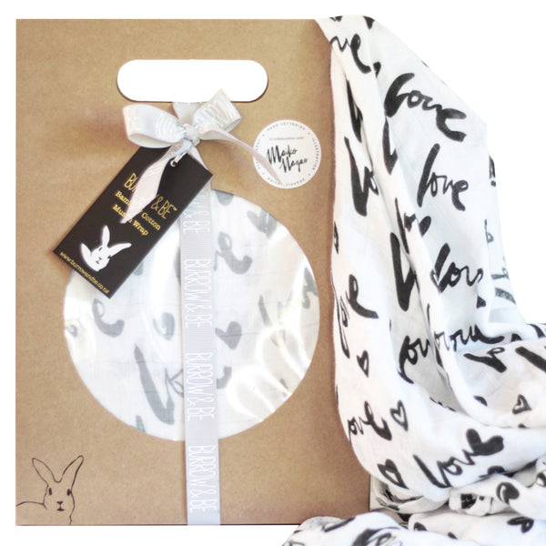 BAMBOO/COTTON MUSLIN WRAP - LOVE PRINT