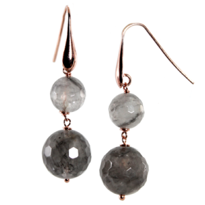 SIMPLY ITALIAN 'CLOUDY QUARTZ DOUBLE DROP EARRINGS'
