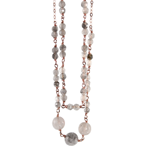 SIMPLY ITALIAN 'DOUBLE STRAND CLOUDY QUARTZ NECKLACE'