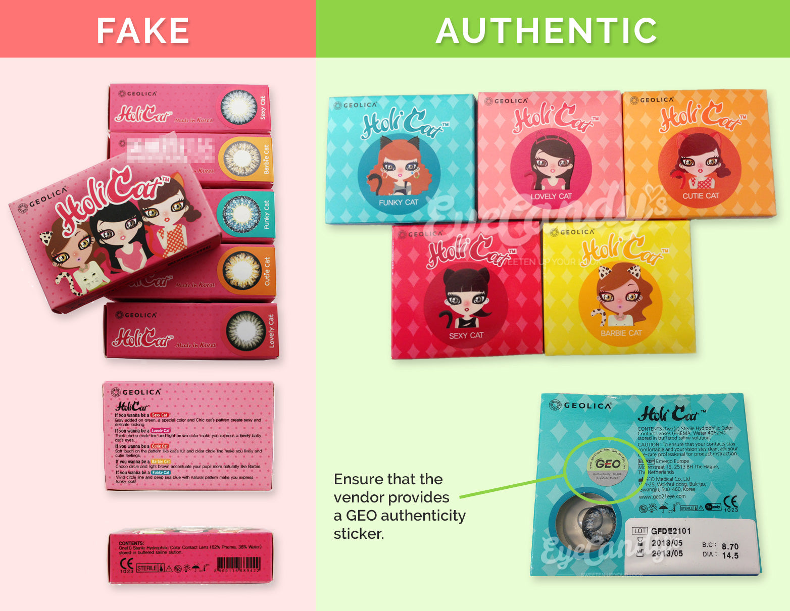 How to spot fake GEOLICA HoliCat color contact lenses