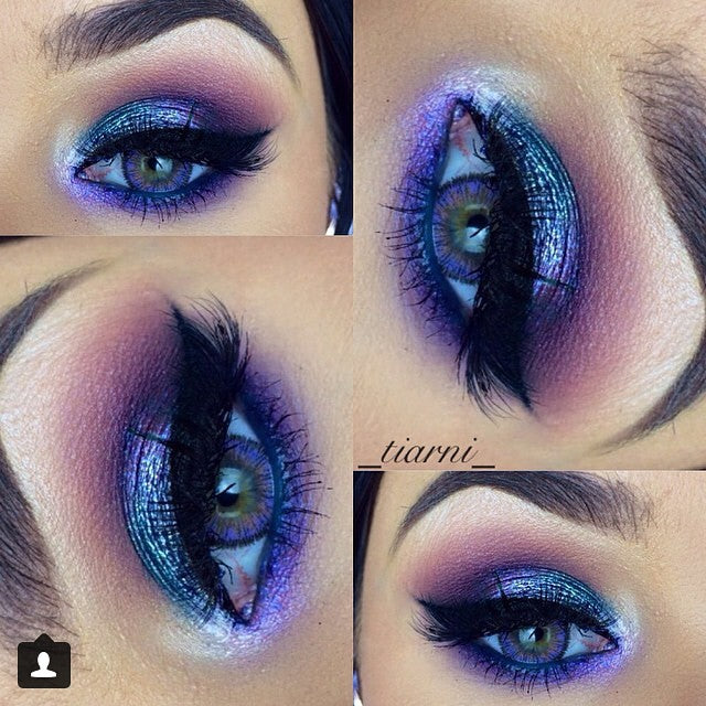 NEO Glamour purple colored lenses on green eyes