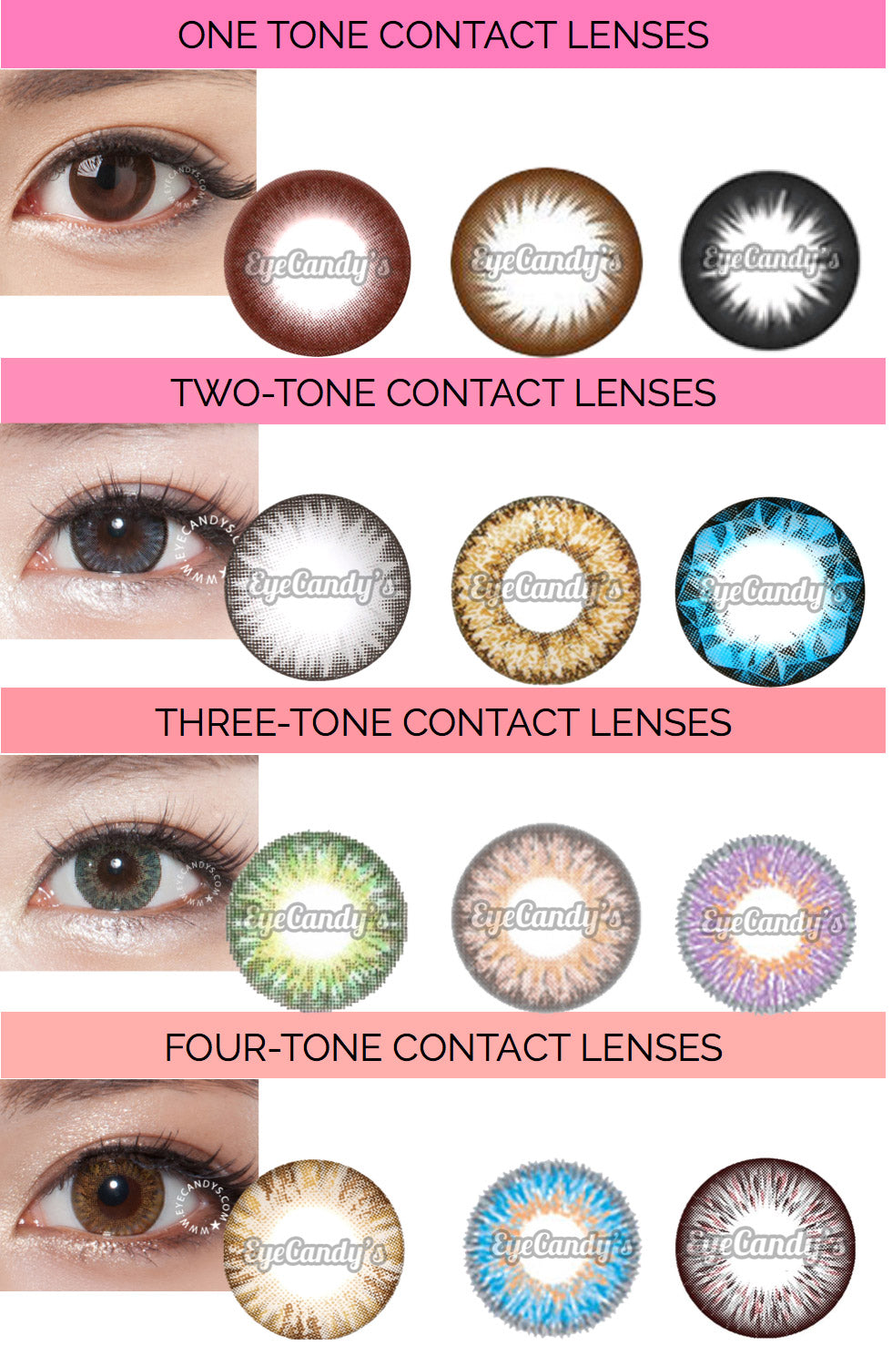 66f1a597be From Left to Right  1-Tone Colored Contact Lenses (NEO Dali Premium Brown
