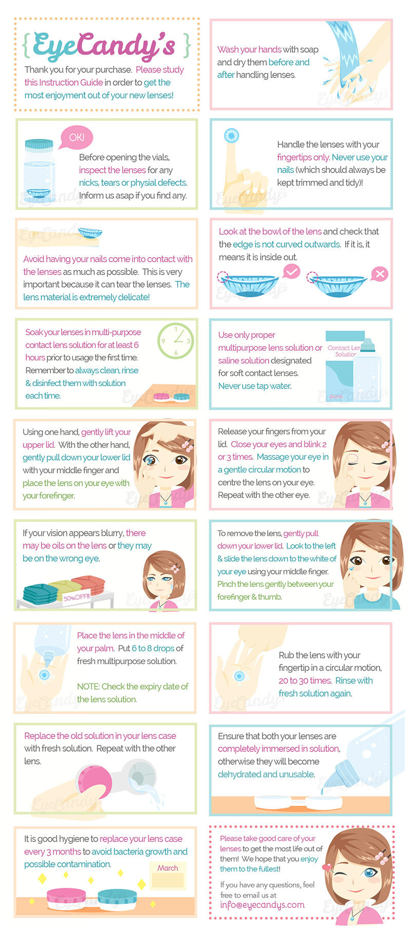Colored Contact Lenses Wear and Care Usage Guide from EyeCandy's