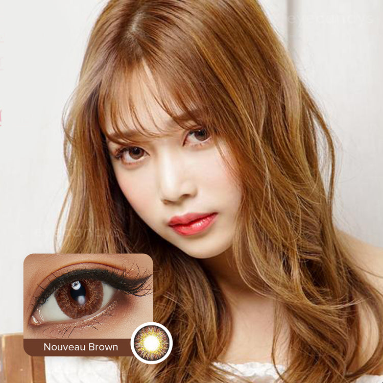 Buy EyeCandys Pink Label Nouveau Large Brown Colour Contact Lenses | EyeCandys
