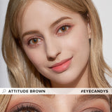 Load image into Gallery viewer, EyeCandys Pink Label Attitude Brown colored contacts circle lenses - EyeCandy's