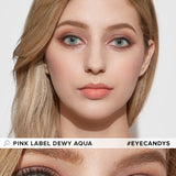Load image into Gallery viewer, EyeCandys Pink Label Dewy Aqua colored contacts circle lenses - EyeCandy's