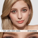 Load image into Gallery viewer, EyeCandys Pink Label Dewy Hazel colored contacts circle lenses - EyeCandy's