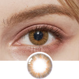 EyeCandys Pink Label Flirty Honey Brown colored contacts circle lenses - EyeCandy's