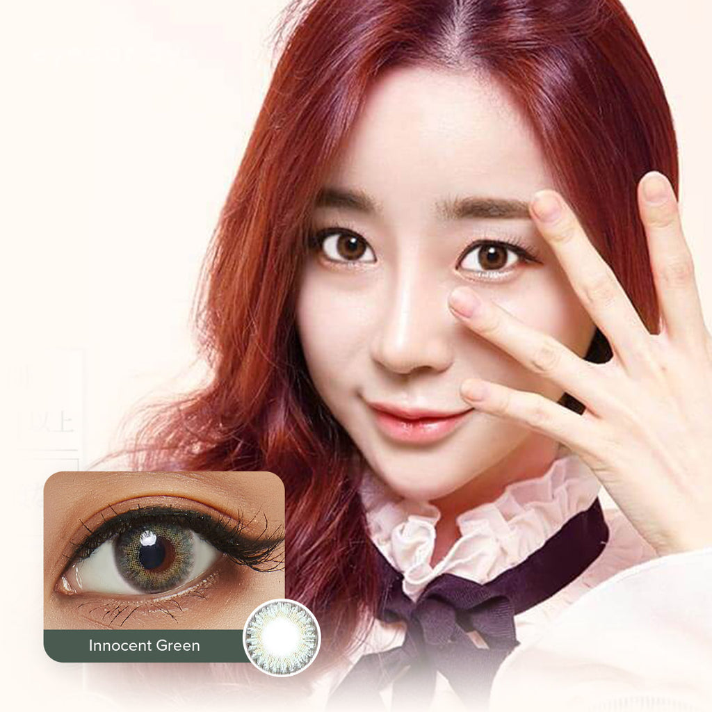 EyeCandys Pink Label Innocent Green colored contacts circle lenses - EyeCandy's