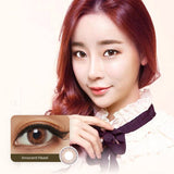 EyeCandys Pink Label Innocent Hazel colored contacts circle lenses - EyeCandy's