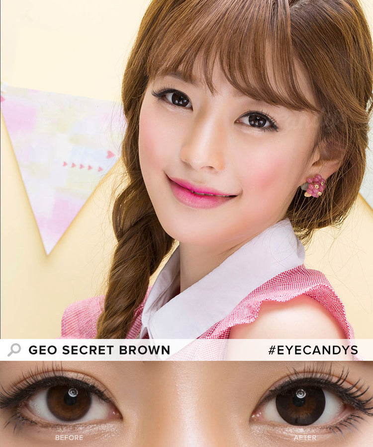Buy GEO 1-Tone Circle Lenses Secret Brown Colored Contacts | EyeCandys